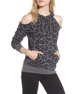 Leopard Print Cold Shoulder Hooded Sweatshirt