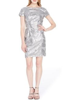 Sequin Floral Sheath Dress