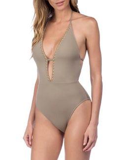 Deco Halter One-piece Swimsuit
