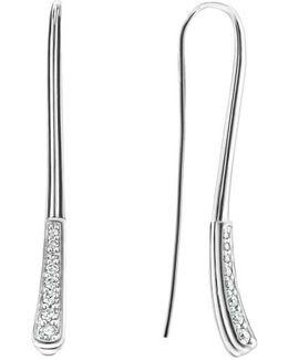 Caviar Diamond Fluted Drop Earrings