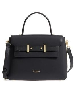 Taymar - Studded Edge Lady Bag Leather Top Handle Satchel