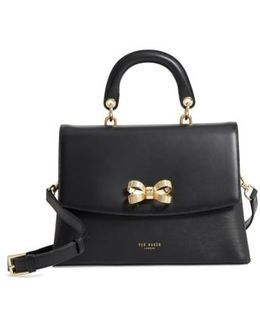 Lauree Looped Bow Leather Satchel