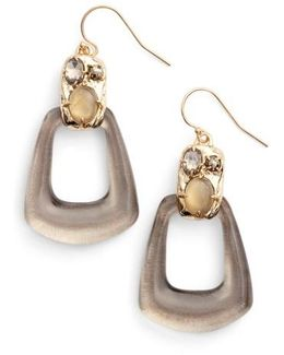 Lucite Smoky Quartz Drop Earrings