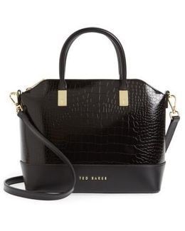 Camilee Croc Embossed Leather Top Handle Tote