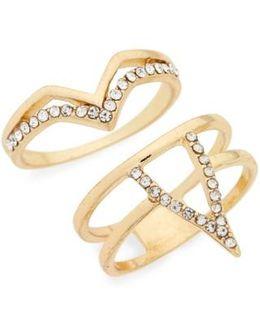 Set Of 2 Crystal V Rings