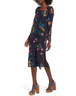 Print Off The Shoulder Midi Dress
