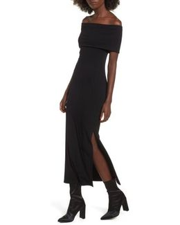 Foldover Off The Shoulder Ribbed Maxi Dress