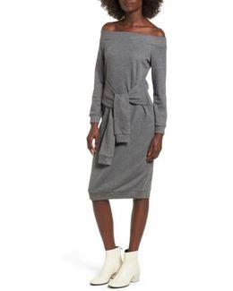 Tie Front Off The Shoulder Sweatshirt Dress