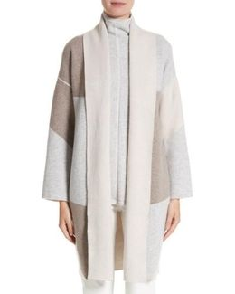 Stretch Cashmere Reversible Felted Colorblock Cardigan