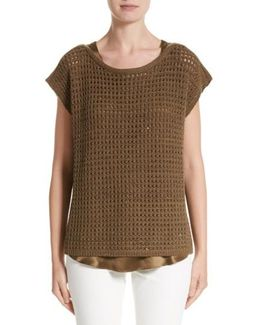 Cashmere Open Stitch Sequin Sweater