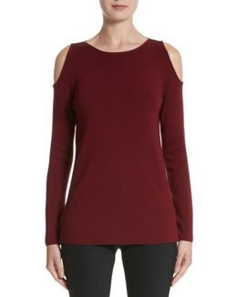 Wool Cold Shoulder Sweater