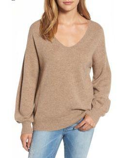 Blouson Sleeve Cashmere Sweater