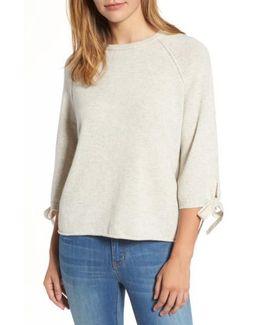 Cashmere Tie Sleeve Sweater