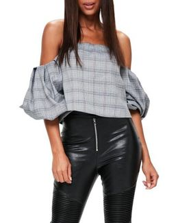 Puffball Sleeve Off The Shoulder Top