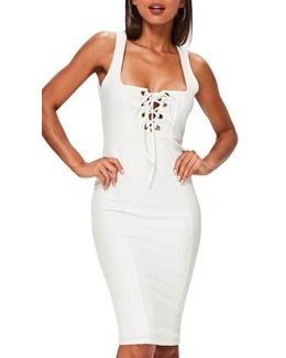 Lace-up Body-con Dress