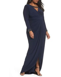 Wrap Front Jersey Gown