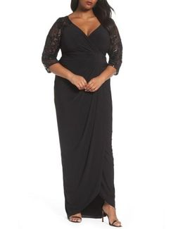 Illusion Lace V-neck Gown