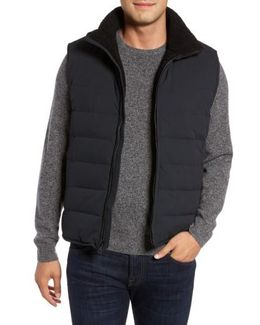 Quilted Down Vest With Faux Shearling Lining