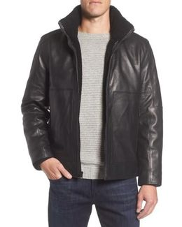 Marc New York Trail Master Leather Jacket With Faux Shearling Lining