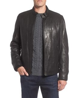Marc New York Cafe Racer Slim Leather Jacket With Faux Shearling Lining