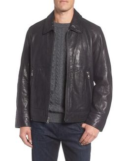 Marc New York Morrison Spread Collar Leather Jacket