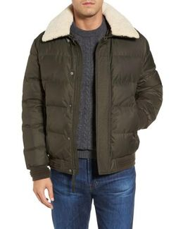 Pinnacle Quilted Down Jacket With Genuine Shearling Collar