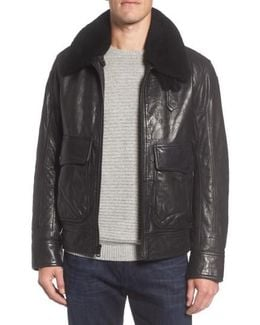 Marc New York 3614 Leather Jacket With Genuine Lamb Shearling Collar