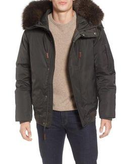 Bomber Jacket With Genuine Fox Fur Trim