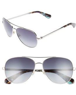 Avaline 58mm Aviator Sunglasses - Palladium