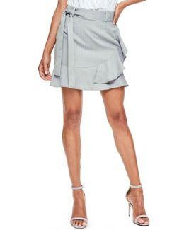 Pinstripe Faux Wrap Shorts
