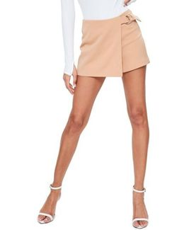 Side Ring Faux Wrap Shorts