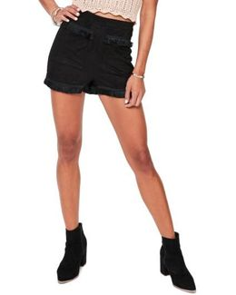 Fringe Detail Faux Suede Shorts