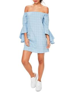 Bardot Ruffle Sleeve Off The Shoulder Shift Dress
