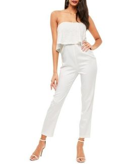 Lace Ruffle Strapless Jumpsuit