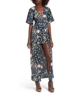 Moody Floral Print Maxi Romper