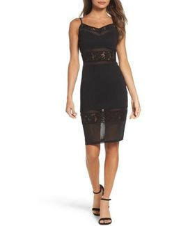 Lucky Layer Embroidered Mesh Sheath Dress