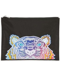 Rainbow Tiger Embroidered A4 Pouch