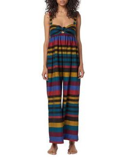 Isla Staccato Stripe Cover-up Jumpsuit