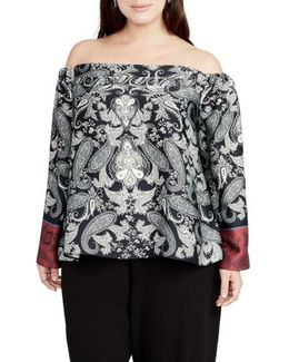 Placed Paisley Print Off The Shoulder Top