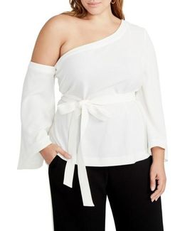 One-shoulder Bell Sleeve Top