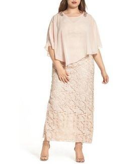 Decode Poncho Over Floral Lace Dress