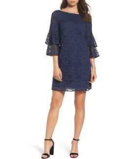 Tiered Sleeve Lace Shift Dress