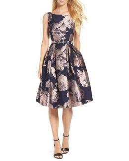 Belted Brocade A-line Dress