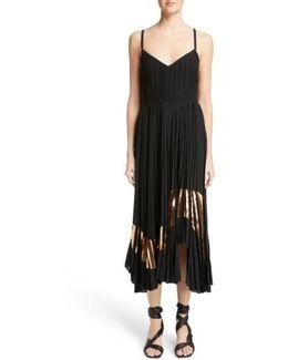 Foil Print Pleated Midi Dress