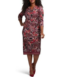 Floral Paisley Scuba Sheath Dress