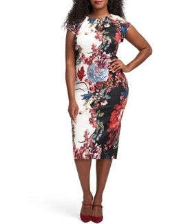 Floral Print Scuba Sheath Dress