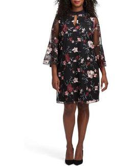 Floral Embroidered Mesh A-line Dress