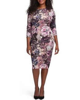 Floral Print Bateau Neck Sheath Dress