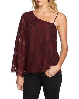 One-shoulder Lace Top