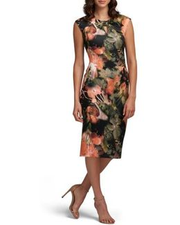 Bow Tie Neck Print Sheath Dress